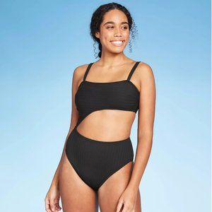 NWT Women's Ribbed Cut Out One Piece Swimsuit